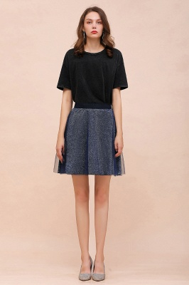 Sparkly Knee Length Metallic A-line Skirt_8