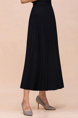 Knitted A-line Tea Length Pleated Skirt_22