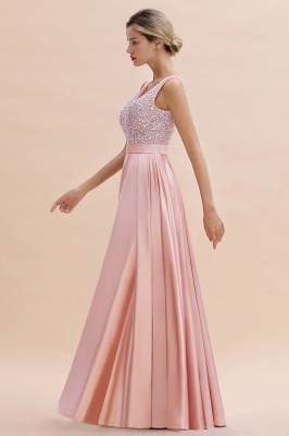 Pink Straps V Neck Beading Crystals A Line Floor Length Ruffles Prom Dresses | Backless Sash Evening Dresses_7