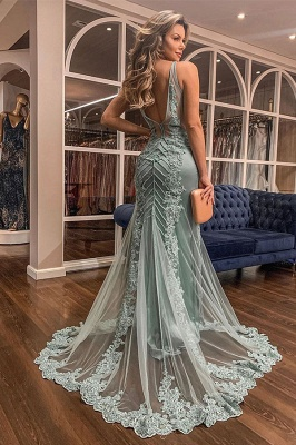 Straps V-neck Sleeveless Open Back Lace Appliques Crystal Beading Mermaid Prom Dresses_2