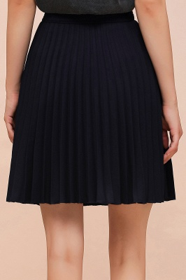 A-line Knitted Knee Length Pleated Skirt_123