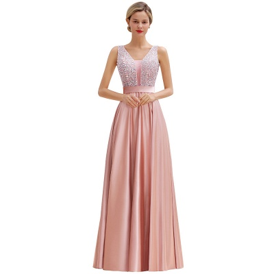 Pink Straps V Neck Beading Crystals A Line Floor Length Ruffles Prom Dresses | Backless Sash Evening Dresses_14