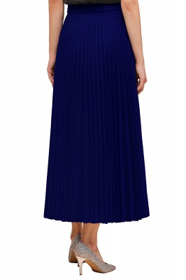 Knitted A-line Tea Length Pleated Skirt_29