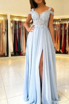 Elegant Cold Sleeves Appliques Chiffon Sky Blue Prom Dresses with Side Slit_2