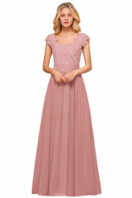 Cap Sleeve Scoop Lace Beading Floor Length Formal Evening Dresses | A Line Chiffon Sexy Prom Dresses_2