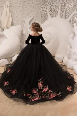 Black Princess V Neck Off The Shoulder 3/4 Sleeve Ball Gown Flower Girl Dresses | Pageant Dresses For Wedding_2