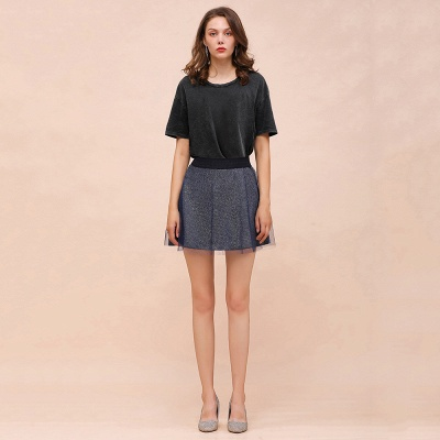 Sparkly A-line Above Knee Metallic Skirt_4