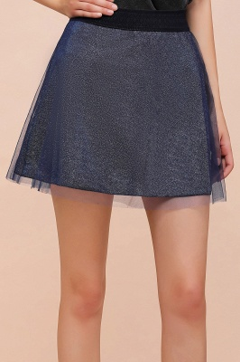 Sparkly A-line Above Knee Metallic Skirt_25
