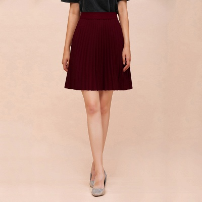 A-line Knitted Knee Length Pleated Skirt_47