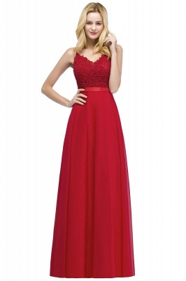 Spaghetti Straps V-Neck Chiffon Lace Evening Dress On Sale_8