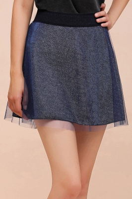 Sparkly A-line Above Knee Metallic Skirt_30