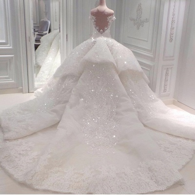 Off The Shoulder Sweetheart Illusion Back Lace Applique Beading Ball Gown Wedding Dresses_2