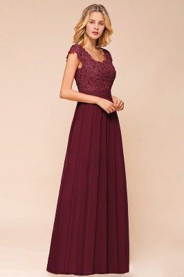 Cap Sleeve Scoop Lace Beading Floor Length Formal Evening Dresses | A Line Chiffon Sexy Prom Dresses_12