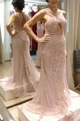 Pink Halter Sleeveless Backless Crystal Beading Sheath Floor Length Prom Dresses | Applique Evening Dresses_2