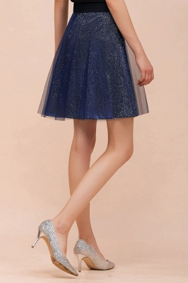 Sparkly Knee Length Metallic A-line Skirt_14