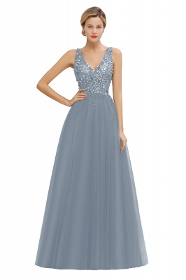 Sleeveless A-line Sequin Tulle Prom Dresses | Cheap Evening Dress_6