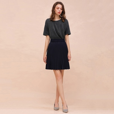 A-line Knitted Knee Length Pleated Skirt_28