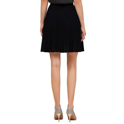 A-line Knitted Knee Length Pleated Skirt_34
