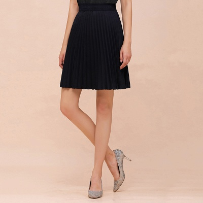 A-line Knitted Knee Length Pleated Skirt_27