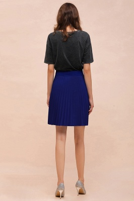 A-line Knitted Knee Length Pleated Skirt_94
