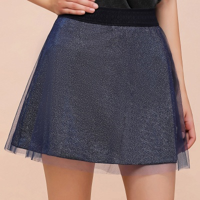 Sparkly A-line Above Knee Metallic Skirt_7