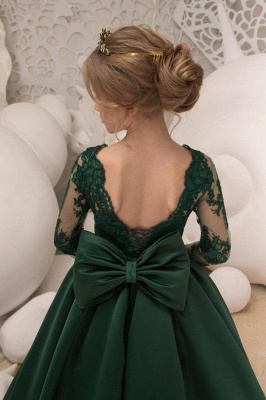 Dark Green Square Lace Long Sleeve Backless Ruffles A Line Flower Girl Dresses | Backless Sash Dress With Bow_4