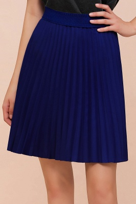 A-line Knitted Knee Length Pleated Skirt_158