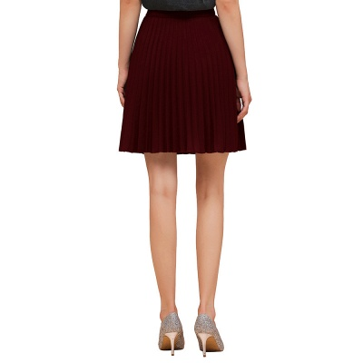 A-line Knitted Knee Length Pleated Skirt_39