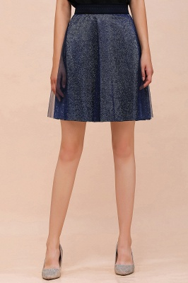 Sparkly Knee Length Metallic A-line Skirt_13