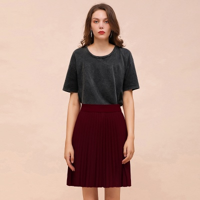 A-line Knitted Knee Length Pleated Skirt_43