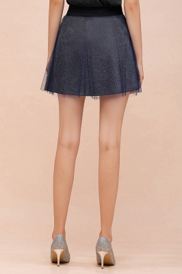 Sparkly A-line Above Knee Metallic Skirt_41