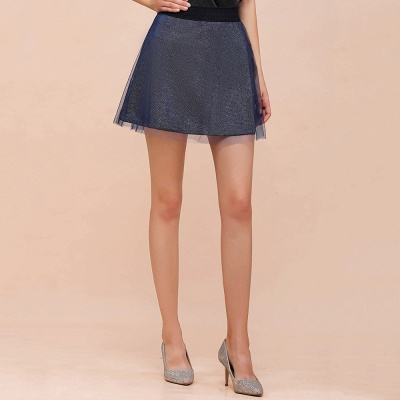 Sparkly A-line Above Knee Metallic Skirt_21