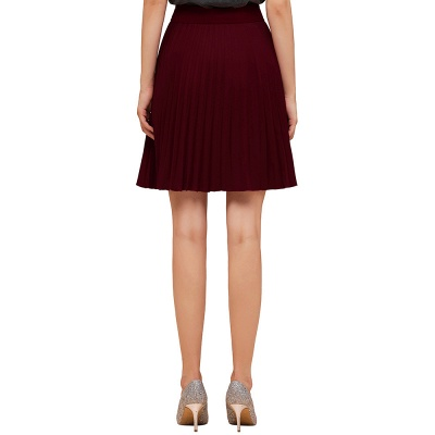 A-line Knitted Knee Length Pleated Skirt_56