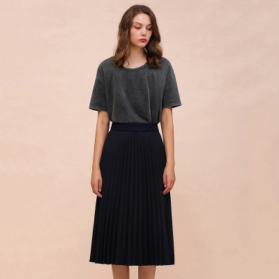 A-line Knitted Short Pleated Skirt_14