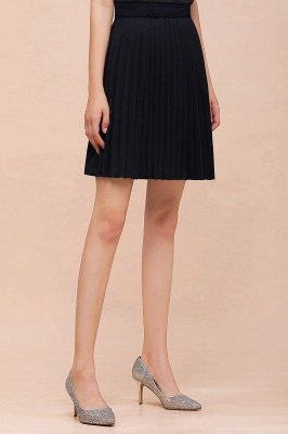 A-line Knitted Knee Length Pleated Skirt_95