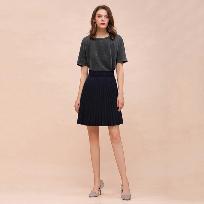 A-line Knitted Knee Length Pleated Skirt_24