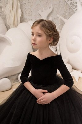 Black Princess V Neck Off The Shoulder 3/4 Sleeve Ball Gown Flower Girl Dresses | Pageant Dresses For Wedding_3