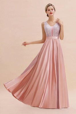 Pink Straps V Neck Beading Crystals A Line Floor Length Ruffles Prom Dresses | Backless Sash Evening Dresses_6