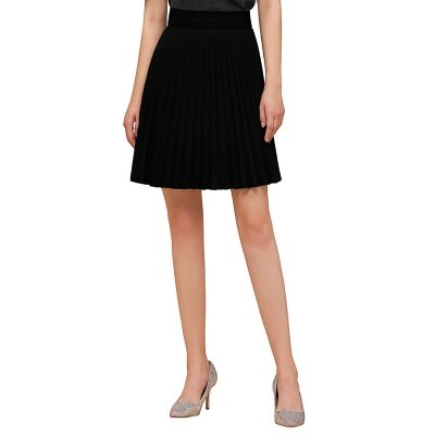 A-line Knitted Knee Length Pleated Skirt_45