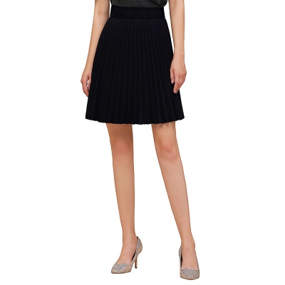 A-line Knitted Knee Length Pleated Skirt_40