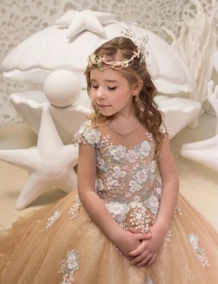 Cute Champagne Jewel Cap Sleeve Applique Pearls Ball Gown Flower Girl Dresses  | 3D Flower Ruffles Pageant Dress For Wedding Party_3