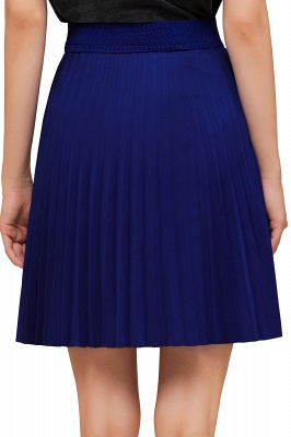 A-line Knitted Knee Length Pleated Skirt_165