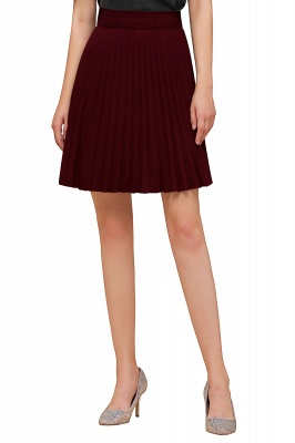 A-line Knitted Knee Length Pleated Skirt_109