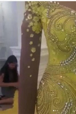 Off The Shoulder Yellow Sparkling Prom Dresses Mermaid Beads Sequins Evening Dress_5