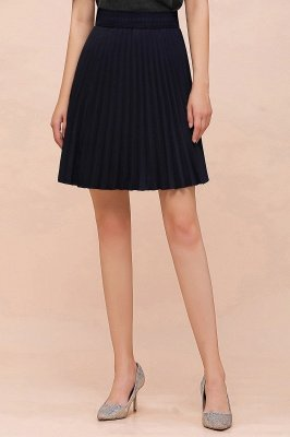 A-line Knitted Knee Length Pleated Skirt_98