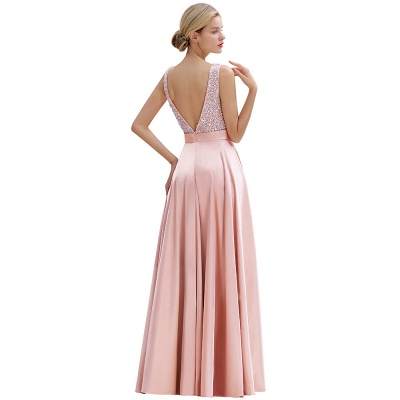 Pink Straps V Neck Beading Crystals A Line Floor Length Ruffles Prom Dresses | Backless Sash Evening Dresses_16