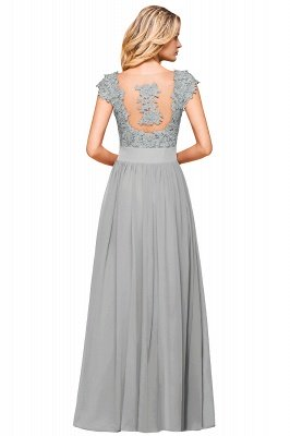 Cap Sleeve Scoop Lace Beading Floor Length Formal Evening Dresses | A Line Chiffon Sexy Prom Dresses_21