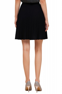 A-line Knitted Knee Length Pleated Skirt_104