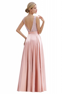 Pink Straps V Neck Beading Crystals A Line Floor Length Ruffles Prom Dresses | Backless Sash Evening Dresses_15