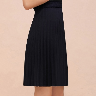 A-line Knitted Knee Length Pleated Skirt_12